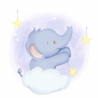 Waterverf van babyolifant de hangende sterren