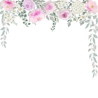 Waterverf van lichtroze rozen met witte bloemen en groen bladerengordijn