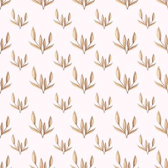 Waterverf vector naadloos patroon met gouden bosbladeren in uitstekende stijl. ontwerp backgr