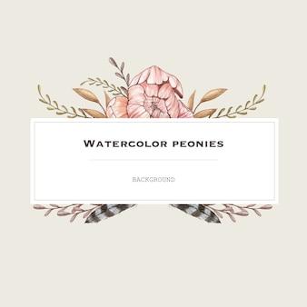 Waterverf vectorkader met pastelkleurpioenen in uitstekende stijl. ontwerp achtergrond.