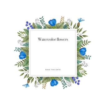 Waterverf vectorkader van kleurrijke wilde bloemen.