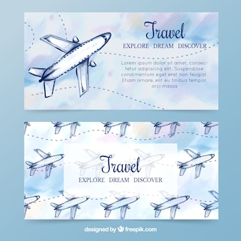 Waterverf vliegtuigen banners