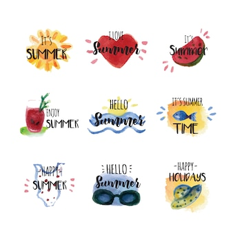 Waterverf zomer etiketten
