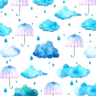 Waterverfachtergrond met blauwe wolken en paraplu's