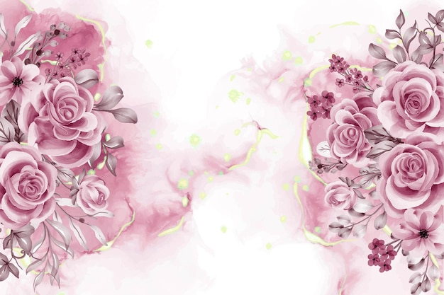 Waterverfachtergrond met roze gouden bloemen en bladeren Gratis Vector