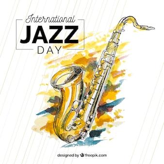 Waterverfachtergrond voor internationale jazzdag