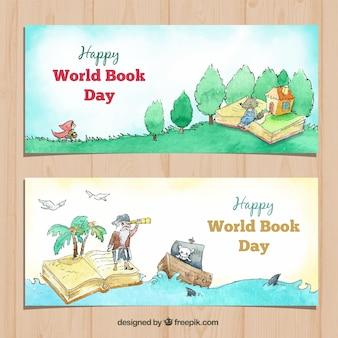 Waterverfbanners voor de dag van het wereldboek