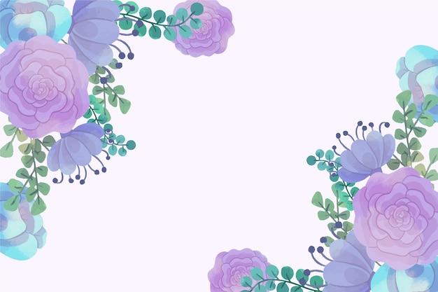 Waterverfbloemen voor behangconcept in pastelkleuren