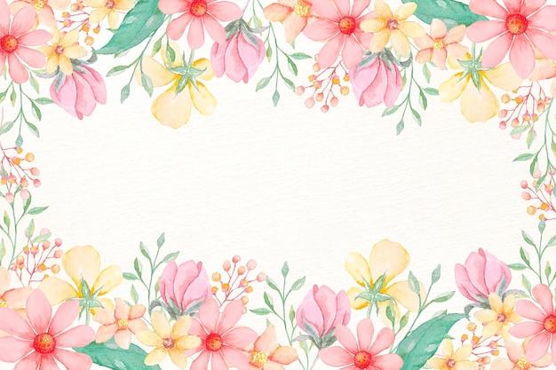 Waterverfbloemenbehang in pastelkleuren