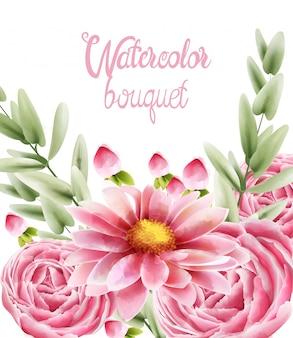 Waterverfboeket van roze madeliefjebloemen met bladeren