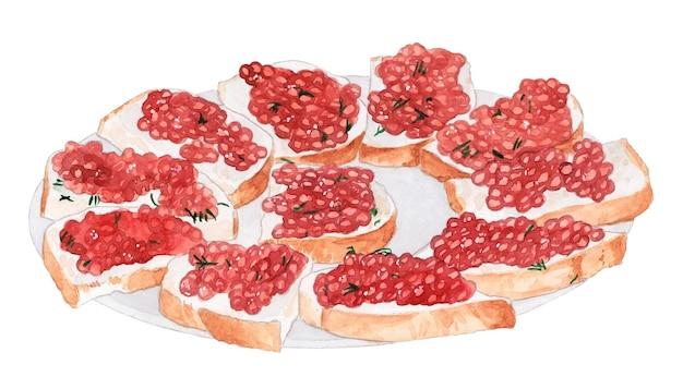 Waterverfbord met rode kaviaarsandwiches met kruiden