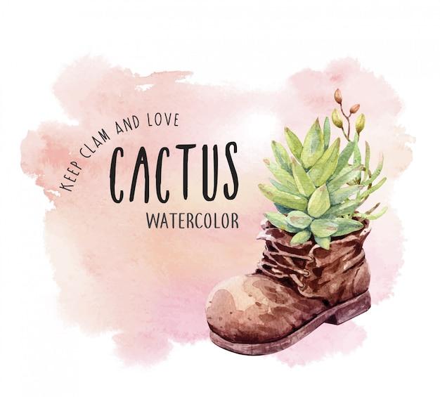 Waterverfcactus en succulent met laarzenpot.