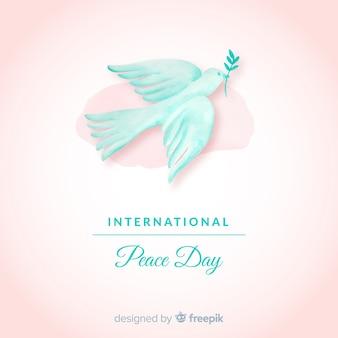 Waterverfdag van vredessamenstelling met witte duif