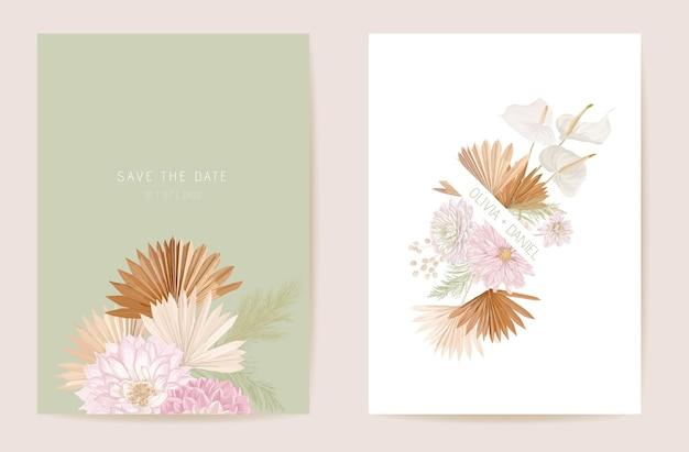 Waterverfdahlia, pampagras, lunaria bloemenhuwelijkskaart. vector exotische bloem, tropische palmbladeren uitnodiging. boho sjabloon frame. botanische save the date gebladerte cover, moderne design poster