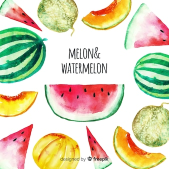 Waterverfgroente en vruchten achtergrond