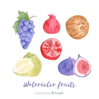 Waterverfgroenten en vruchten achtergrond