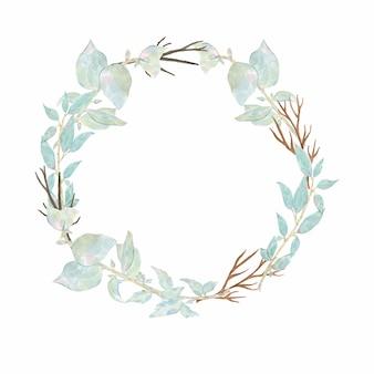 Waterverfhand geschilderd om kroon met anemoon van de bloem de roze pioen en groene bladeren die op wit wordt geïsoleerd