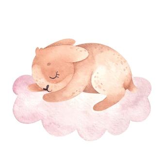 Waterverfillustratie met schattig konijn dat op een wolk slaapt