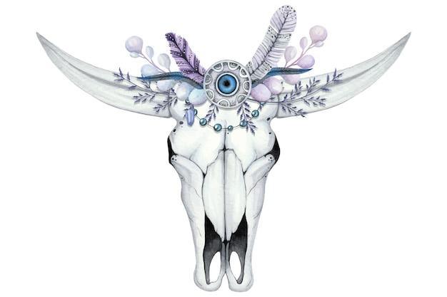 Waterverfillustratie met schedel van buffels en bloemkroon met steen en veren