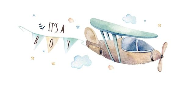 Waterverfillustratie van een leuke en mooie hemelscène met vliegtuig, wolken, linten.
