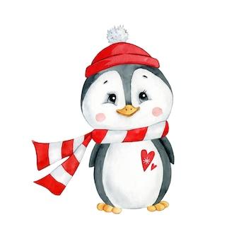 Waterverfillustratie van een leuke kerstmispinguïn van de beeldverhaalwinter in een geïsoleerde hoed en sjaal.