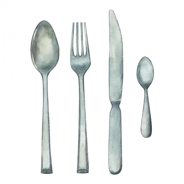 Waterverfillustratie van lepel, vork, mes en theelepeltje, vaatwerkreeks op witte achtergrond wordt geïsoleerd die.