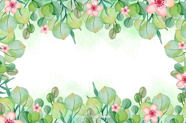 Waterverfkader met mooie bloemenachtergrond