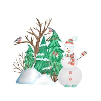 Waterverfkerstboom in de winter met sneeuw, sneeuwman en goudvinkvogelpaar en sneeuwbanken. vooraanzicht, pijlpunt.