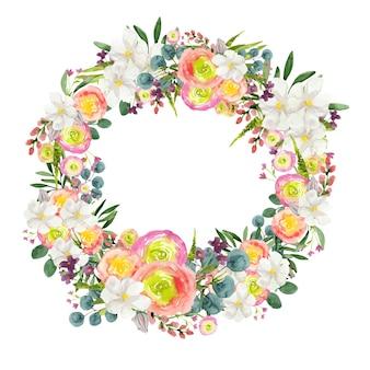 Waterverfkroon van kleurrijke bloemen rond frame op witte achtergrond