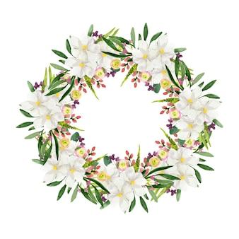 Waterverfkroon van witte en kleurrijke bloemen rond frame op witte achtergrond