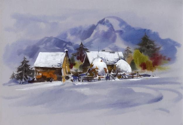 Waterverflandschap met sneeuw en huisillustratie