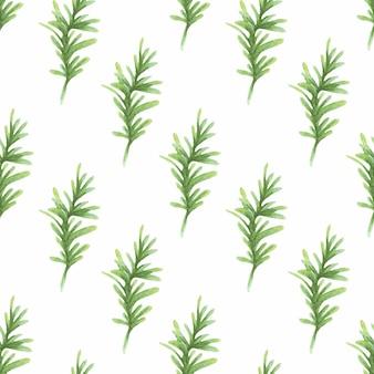 Waterverfpatroon met groene naaldtakken op een witte achtergrond