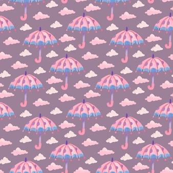 Waterverfpatroon met roze paraplu en regendruppels op paarse achtergrond