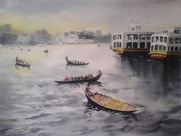 Waterverfschilderijen schepen en boot bij rivierlandschap