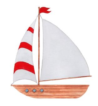 Waterverfschip met wit zeil in rode strepen