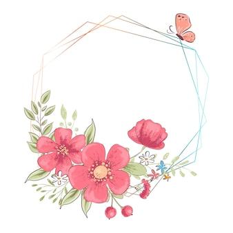 Waterverfsjabloon voor een verjaardag huwelijksviering met bloemen en ruimte voor tekst.