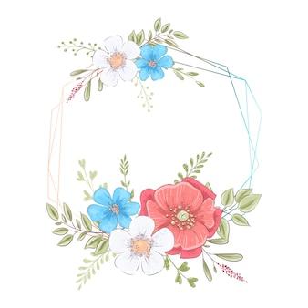 Waterverfsjabloon voor een verjaardag huwelijksviering met bloemen en ruimte voor tekst