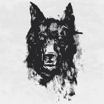 Waterverftekening van zwarte boze kijkende wolf.