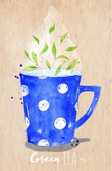 Waterverftheekopje met groene thee die op kraftpapier-achtergrond trekken