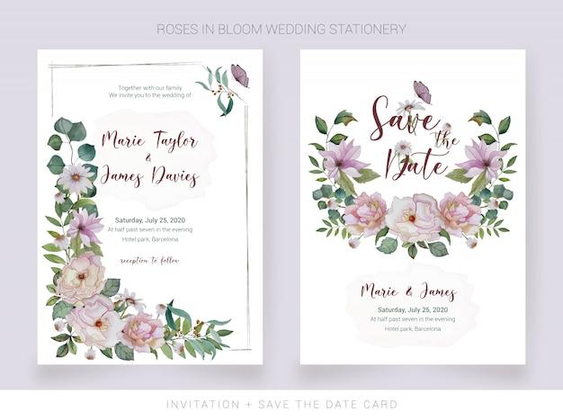 Waterverfuitnodiging en bewaar de datumkaart met geschilderde bloemen