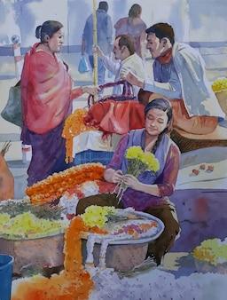 Waterverfverkoper leven met mensen en bloemen
