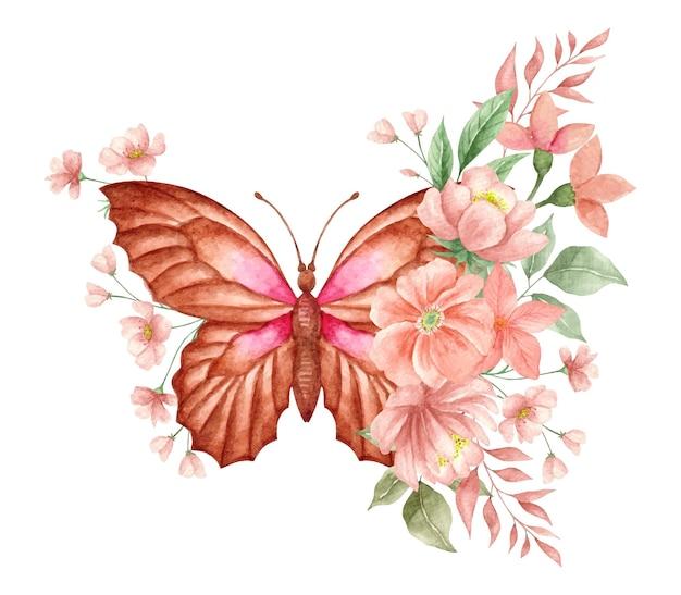 Waterverfvlinder met mooie bloemenversieringsdecoratie