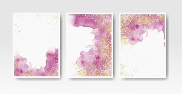 Waterverfwasplons voor de collectie van de uitnodigingskaartsjabloon Premium Vector