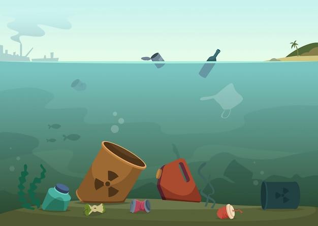 Waterverspilling. de plastic flessen van de aardvervuiling in het afval van oceaanpuin vuile dieren sparen aardconcept