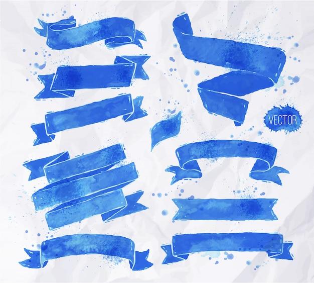 Waterverven linten in blauwe kleuren