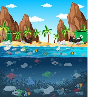 Watervervuiling met plastic zakken in oceaan