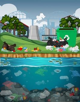 Watervervuiling met plastic zakken in rivier