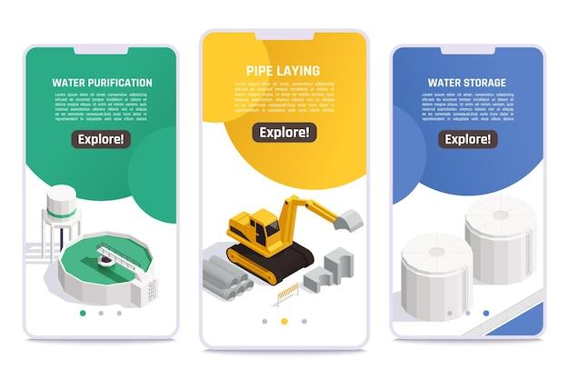 Watervoorziening concept 3 isometrische mobiele schermen banners met zuivering opslagfaciliteiten leggen pijpen graafmachine vectorillustratie
