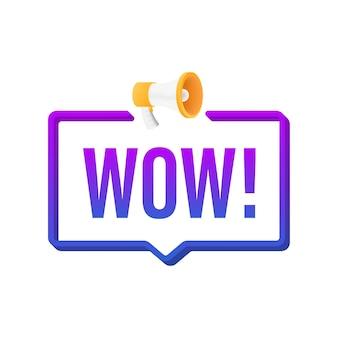 Wauw megafoon. platte vectorillustratie. maak promotieaanbieding bekend. mensen communiceren.