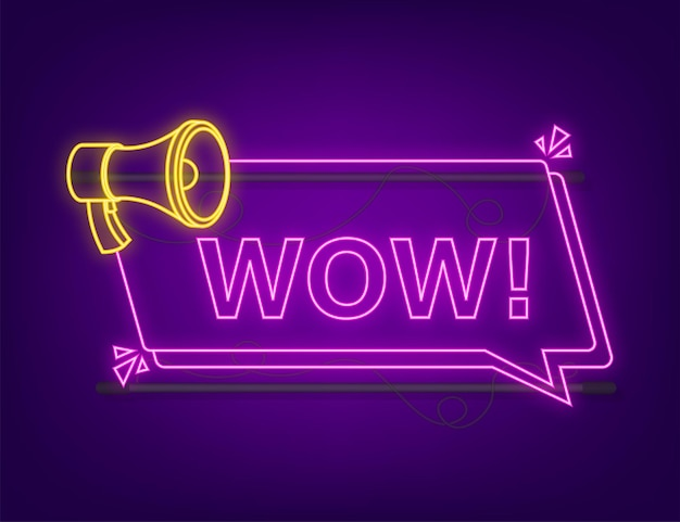 Wauw neon-megafoon. platte vectorillustratie. maak promotieaanbieding bekend. mensen communiceren.